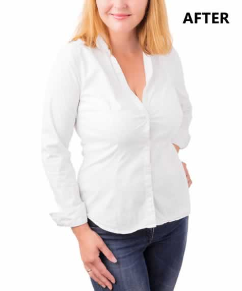 After weight loss female in white shirt